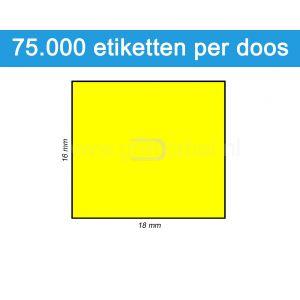 Prijsetiket fluor geel 16x18mm - permanente belijming - doos à 50 rol à 1.500 etiketten
