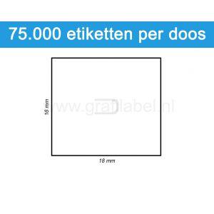 Prijsetiket wit 16x18mm - permanente belijming - doos à 50 rol à 1.500 etiketten