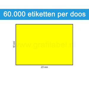 Prijsetiket fluor geel 16x23mm - permanente belijming - doos à 50 rol à 1.200 etiketten
