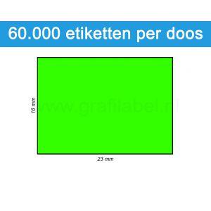 Prijsetiket fluor groen 16x23mm - permanente belijming - doos à 50 rol à 1.200 etiketten