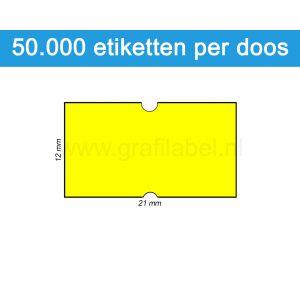 Prijsetiket fluor geel 21x12mm - permanente belijming - doos à 50 rol à 1.000 etiketten