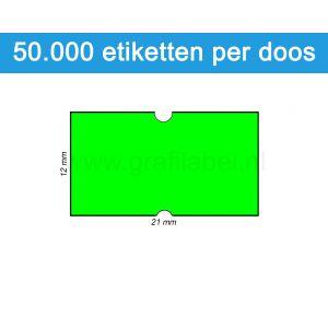 Prijsetiket fluor groen 21x12mm - permanente belijming - doos à 50 rol à 1.000 etiketten