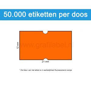 Prijsetiket fluor oranje 21x12mm - permanente belijming - doos à 50 rol à 1.000 etiketten