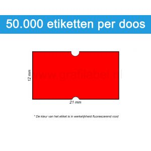 Prijsetiket fluor rood 21x12mm - permanente belijming - doos à 50 rol à 1.000 etiketten