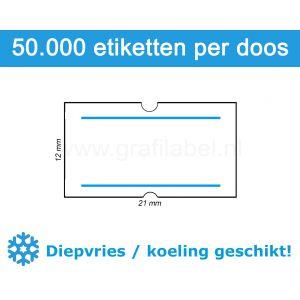Prijsetiket wit 21x12mm met 2 blauwe strepen - diepvries belijming - doos à 50 rol à 1.000 etiketten