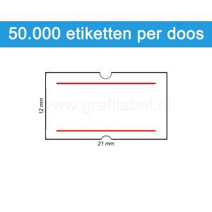 Prijsetiket wit 21x12mm met 2 rode strepen - permanente belijming - doos à 50 rol à 1.000 etiketten