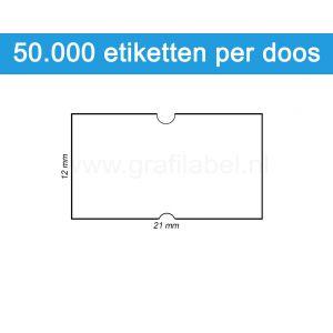 Prijsetiket wit 21x12mm - permanente belijming - doos à 50 rol à 1.000 etiketten