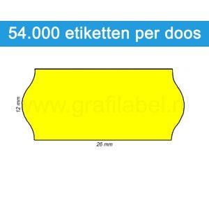 Prijsetiket fluor geel 26x12mm - permanente belijming - doos à 36 rol à 1.500 etiketten