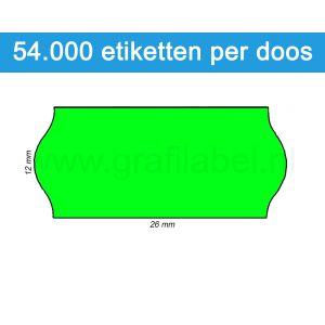 Prijsetiket fluor groen 26x12mm - permanente belijming - doos à 36 rol à 1.500 etiketten