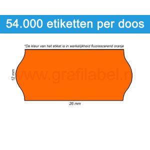 Prijsetiket fluor oranje 26x12mm - permanente belijming - doos à 36 rol à 1.500 etiketten