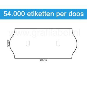 Prijsetiket wit 26x12mm met u-stanzing voor Sato Samark - permanente belijming - doos à 36 rol à 1.500 etiketten