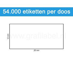 Prijsetiket wit 26x12mm - permanente belijming - doos à 36 rol à 1.500 etiketten
