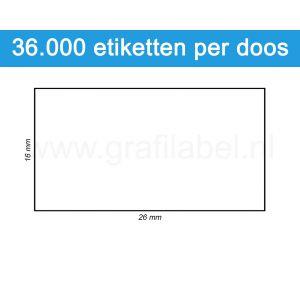 Prijsetiket wit 26x16mm - permanente belijming - doos à 36 rol à 1.000 etiketten