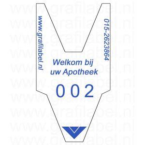 Volgnummerrol wit met opdruk 'Welkom bij uw Apotheek' met 2 x cijferreeks 0-999